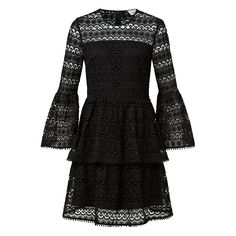 In a beautiful all over lace design, this dress will elevate your outfit with its feminine style. Featuring bell sleeves and a tiered peplum hem, it