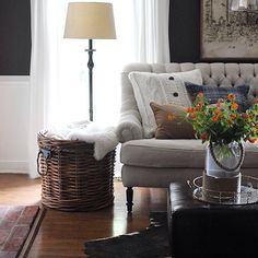 """Love this beautiful round handled basket from @birchlane that we added to our den! Tap for other sources. Paint color and detailed source list can be found on our blog under the """"our home"""" tab."""