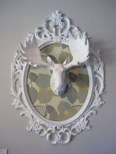 Fabric Framed Antlers by Dream Book Design