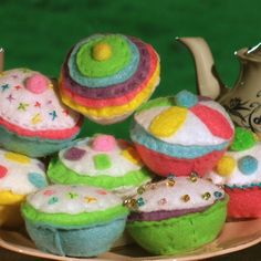 felt crafts to sell | Pastel Rainbow Felt Cupcakes - Folksy