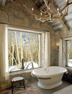 Rustic Cabin Bathroom - what a scene