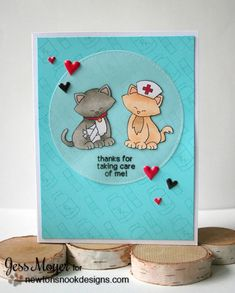 Get Well Cat card by Jess Moyer   Newton's Sick Day Stamp set by Newton's Nook Designs
