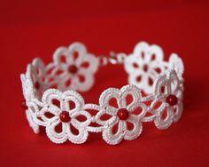 SALE Tatted Lace bracelet ivory tatting sterling by LaceLadyOla, Tatting Armband, Tatting Bracelet, Lace Bracelet, Tatting Jewelry, Lace Jewelry, Tatting Lace, Crochet Bracelet, Crochet Earrings, Flower Bracelet