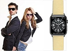Apple Watch Strap Ivory leather, with adapter. Replacement Watchband Strap Wrist Band inox Buckle for Apple Watch & Nike & Sport & Edition All Models - Made in EU (42mm, Silver adapter): Amazon.co.uk: Electronics