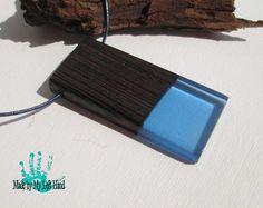 Wood and resin pendant epoxy resin Wenge and blue resin necklace Wood necklace resin wood necklace resin pendant wood jewelry gift for her