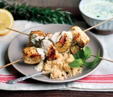 #Superfood Recipe: Rosemary Chicken Skewers With Sauce #SelfMagazine