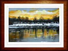 Téli Duna-part created by: (Kovácsné) Szöllős Éva - oil, 30x40 cm canvas
