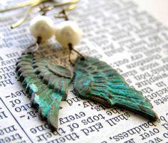 Verdigris Angel Wings with Pearls