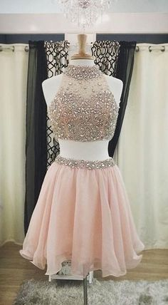 2016 Halter Two Pieces Homecoming Dresses,Pink Homecoming Dresses For Teens http://www.luulla.com/product/559933/pretty-two-pieces-pink-homecoming-dresses-for-teens-halter-beading-cocktail-dresses-beautiful-graduation-dress #homecomingdresses #halterhomecomingdresses #wopieceshomecomingdresses