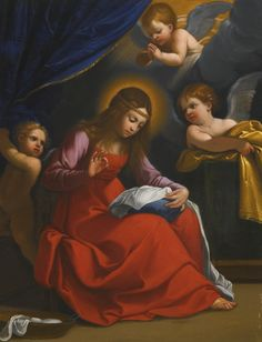 Follower of Guido Reni THE MADONNA SEWING oil on copper 24.5 by 19.5 cm.; 9 5/8  by 7 5/8  in.