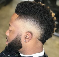 Burst Fade Faux Hawk - Best Frohawk Haircuts For Men: Cool Faux Hawk and Mohawk Fade Hairstyles For Black Men Black Men Haircuts, Black Men Hairstyles, Medium Hairstyles, Hair And Beard Styles, Curly Hair Styles, Mohawk Hairstyles Men, Braided Hairstyles, Wedding Hairstyles, Barbers