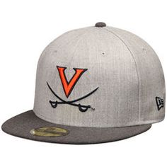 Men s New Era Gray Graphite Virginia Cavaliers Heather Action 2-Tone 59FIFTY  Fitted Hat f23ef915e74
