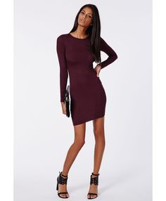 Rainey Long Sleeve Bodycon Dress Plum - Dresses - Bodycon Dresses - Missguided