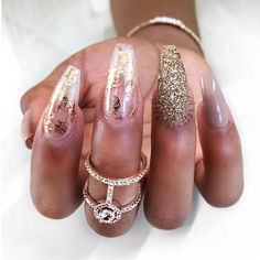 21 Stunning Gold Foil Nail Designs to Make Your Manicure Shine ★ Transparent Mani with Gold Foil Picture 2 ★ See more: http://glaminati.com/gold-foil/ #goldfoilnails #goldfoilnailart