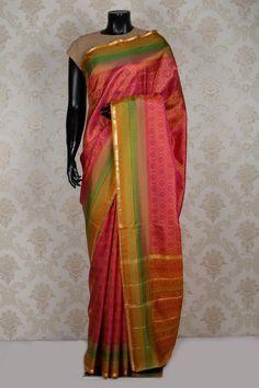 #Metallic dark #pink pure silk beautiful #saree with printed #pallu -SR14190