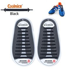 Coolnice� kein Krawatte Schn�rsenkel f�r Erwachsene und Kinder DIY 20 St�cke- Umweltvertr�gliche Wasserdicht Silikon- Farbe# schwarz