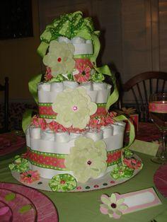 Girl baby shower diaper cake