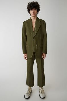 Acne Studios hunter green boot cut trousers with a creased front. Pimples Under The Skin, Fancy Suit, Men's Collection, Wedding Suits, Acne Studios, Aesthetic Clothes, Dapper, Outfit Of The Day, Menswear