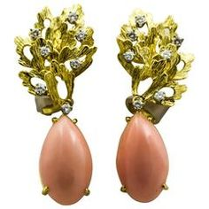 Tiffany & Co. Angel Skin Coral Gold Leaf Design Clip-On Earrings 8