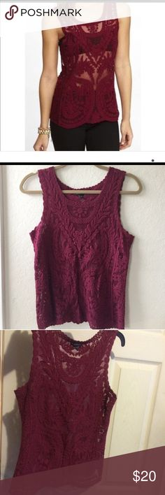 "Express tank Beautiful, Antique baroque style lace tank top in Fall's ""it"" color Burgundy.  Dress up or down, possibilities are endless with this gorgeous top. Express Tops Tank Tops"