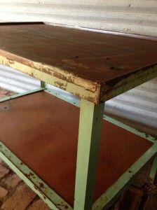 Rustic industrial table (green)