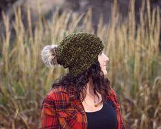 Julie King, Yarn Bee, Velvet Hat, Magic Ring, Faux Fur Pom Pom, Slouchy Beanie, Crochet Beanie, Double Crochet, Crochet Patterns