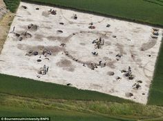 What is thought to be the oldest settlement in Britain has been discovered on farmland in Dorset (pictured). The previously unknown habitation at Winterborne Kingston, near Blandford, Dorset, dates to around 100BC, which makes it 80 years earlier than Colchester in Essex. The circular mark indicates an ancient house