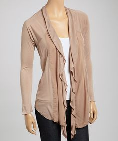 Loving this Mocha Embroidered Open Cardigan on #zulily! #zulilyfinds