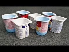 3 stunningly simple ideas from yogurt cups - Natürliche Gelnägel Burlap Crafts, Diy Home Crafts, Fun Crafts, Plastic Bottle Crafts, Recycle Plastic Bottles, Diy Room Divider, Recycle Cans, Basket Crafts, Yogurt Cups