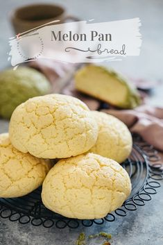 Melon pan is the Japanese sweet bread shaped to look like a melon or cantaloupe. It has a crunchy and sweet outer crust with a super soft and fluffy inside. Melon Pan Recipe, Melon Recipes, Sweet Recipes, Asian Recipes, Veggie Recipes, Japanese Pastries, Japanese Bread, Japanese Food, Japanese Sweets