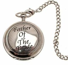 Pocket watch - Solid pewter fronted mechanical skeleton pocket watch - Father of the Bride design 50 AEW. $99.00