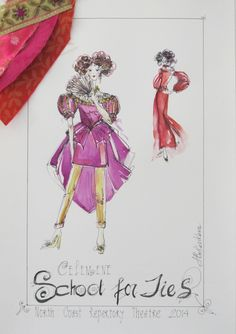 The School for Lies (Arsinoé). Costume design by Alina… Costume Design Sketch, North Coast, Theatre, Opera, Sketches, Movie, Costumes, School, Drawings