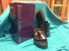 SOLD!! Women Ladies NWB ENZO ANGIOLINI Slides Wedges Sandals Slip Ons Dark Brown SZ 9.5 #EnzoAngiolini #PlatformsWedges #Casual