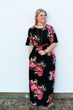 6ed1bb9e6c Ruffle Sleeve Maxi  Black and Red Floral. Ruffle SleeveSpring FashionRuffles Spring ...