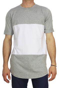 Combos color block longline T-shirt γκρι-λευκό - http://men.bybrand.gr/combos-color-block-longline-t-shirt-%ce%b3%ce%ba%cf%81%ce%b9-%ce%bb%ce%b5%cf%85%ce%ba%cf%8c/