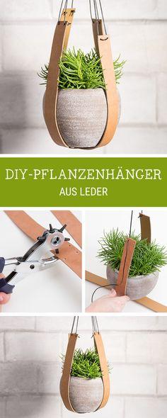 DIY-Anleitung für einen hängenden Blumentopf mit Lederriemen / diy tutorial for a hanging flower pot with leather straps via DaWanda.com