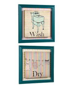 Retro Laundry Framed Canvas - Set of Two