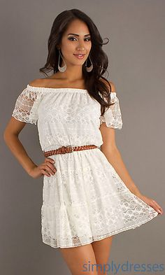 Ivory Short Off the Shoulder Lace Dress at PromGirl.com // going away dress