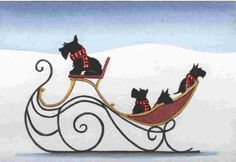 """""""Scotties (scottish terriers) take a sleigh ride"""" by Cindi Lynch"""