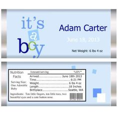 It's a boy candy wrapper baby announcement. Personalized Candy Bars, Candy Party Favors, Candy Wrappers, Announcement, Baby Shower, Boys, Ideas, Candy Cards, Babyshower