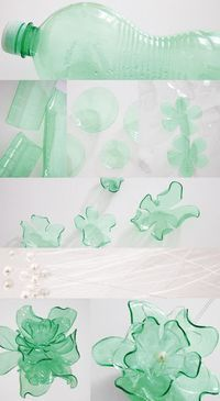 Recycled plastic bottle flowers! #recycle #upcycle #reuse
