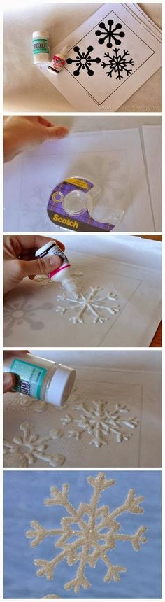 (link) DIY Glitter Snowflake Window Clings / Ornaments ~ TUTORIAL ~ What You Need: snowflake template; wax paper (or freezer paper) Noel Christmas, Christmas Projects, Winter Christmas, All Things Christmas, Holiday Crafts, Holiday Fun, Christmas Ornaments, Christmas Snowflakes, Outdoor Christmas
