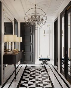 marble flooring And what is not to love about this gorgeous hallway From the geometrical design of the bamp;w marble floor, to the - Web 2020 Best Site Home Design, Flur Design, Home Interior Design, Interior Architecture, Interior Decorating, Windows Architecture, Interior Livingroom, Apartment Interior, Interior Styling
