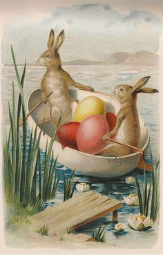 Vintage Easter Bunnies and Easter Eggs in a Boat Postcard today price drop and special promotion. Get The best buyHow to Vintage Easter Bunnies and Easter Eggs in a Boat Postcard Online Secure Check out Quick and Easy. Images Vintage, Vintage Cards, Vintage Postcards, Rabbit Colors, Easter Art, Easter Eggs, Easter Bunny Images, Easter Parade, Easter Holidays