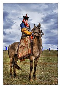 Mongolian Horsewoman in full costume