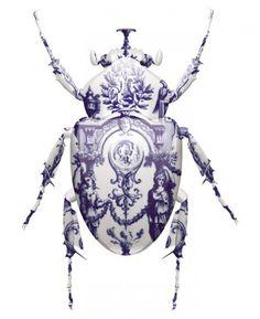 Blue Delft 'Porcelain' Beetle Print. En laten we niet vergeten dat Hugo Kaagman de enige echte oorspronkelijke uitvinder is van het nieuwe Delfts blauw!