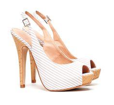 Stripe slingback heels