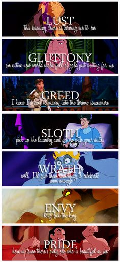 The 7 deadly sins with Disney villains.