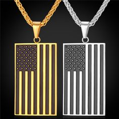 Hot US National Flag Pendant Necklace American Fashion Jewelry Stainless Steel/Gold Plated Patriot Necklace For Men Chain GP1810