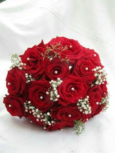 Red wedding bouquets red rose bridal bouquet real touch bling silk if contrasted with bridesmaids white flowers mightylinksfo